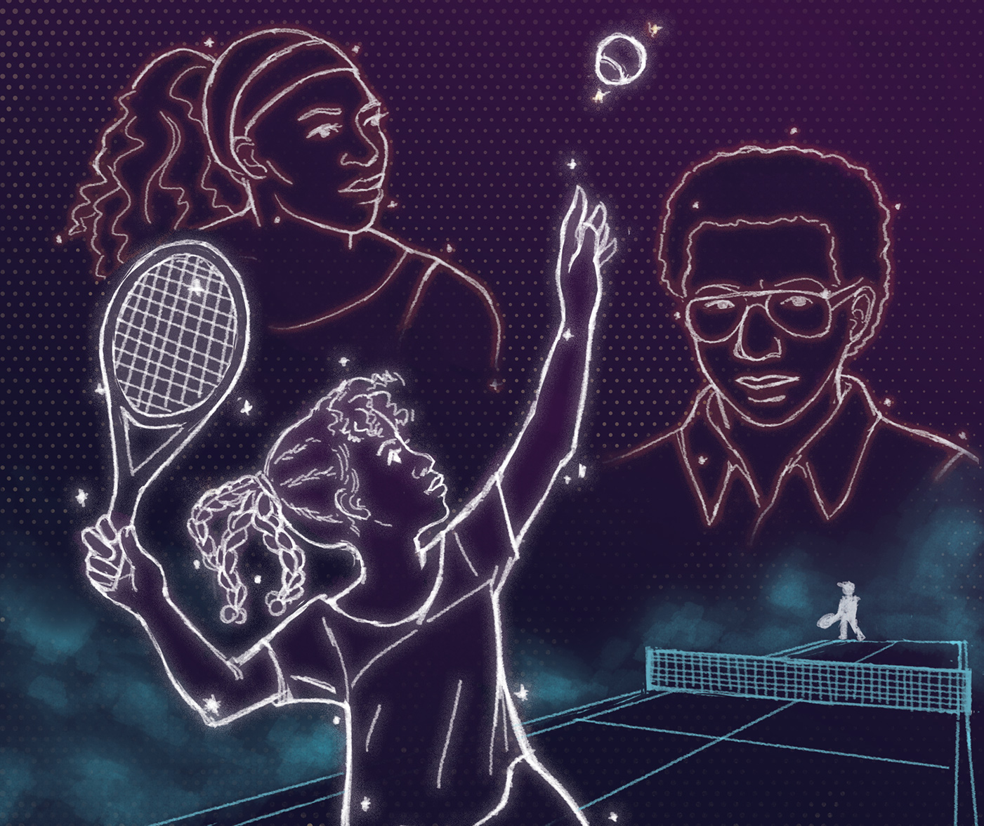 Illustration of a young, black girl stylized as a constellation, with Serena Williams and Artur Ashe in the background.