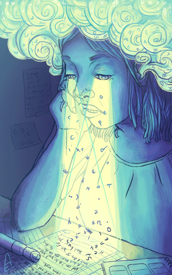 Blue and yellowish illustration of girl studying. Words are rising from papers on the desk up to her eyes, and float like smoke from her ears.