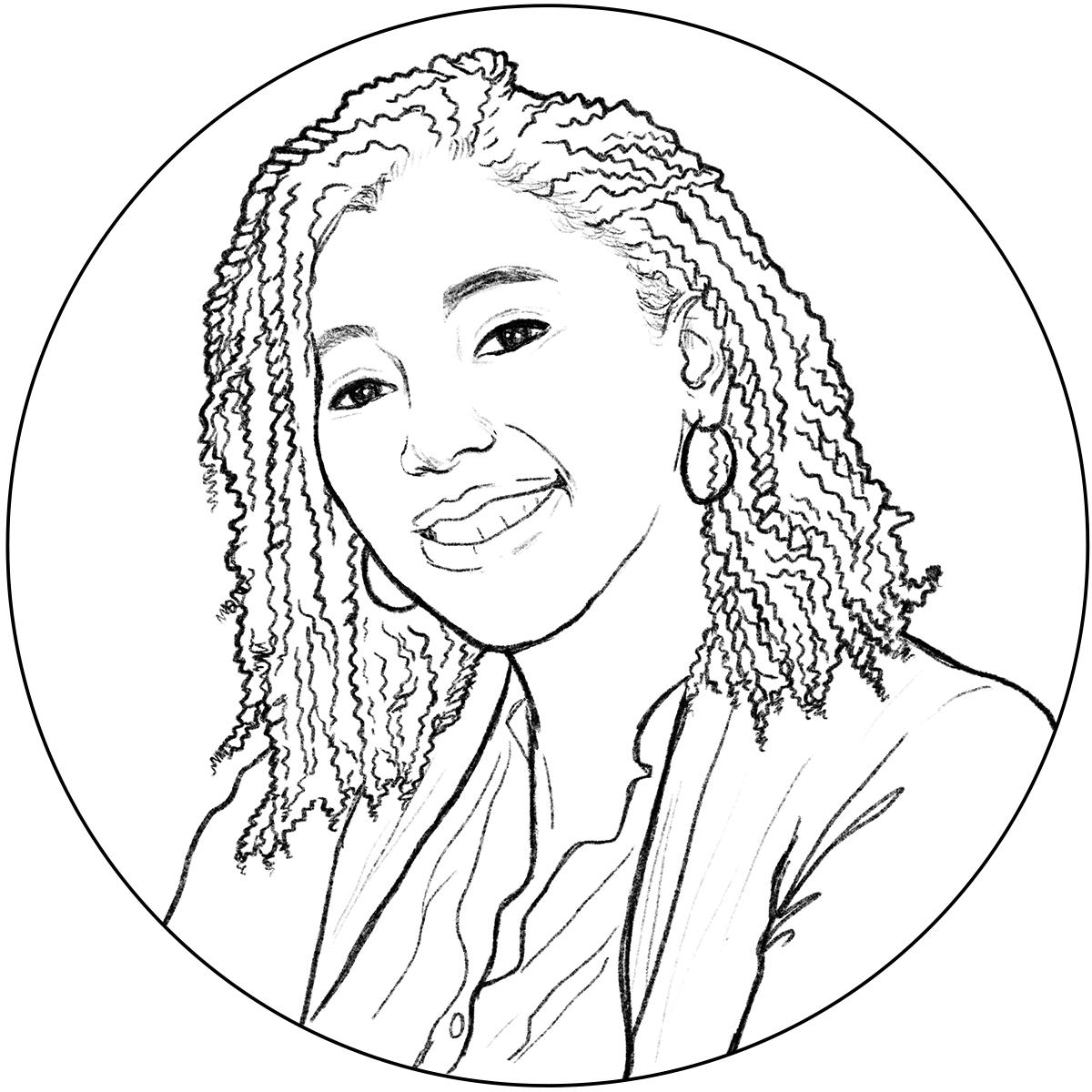 Black line sketch of Annette