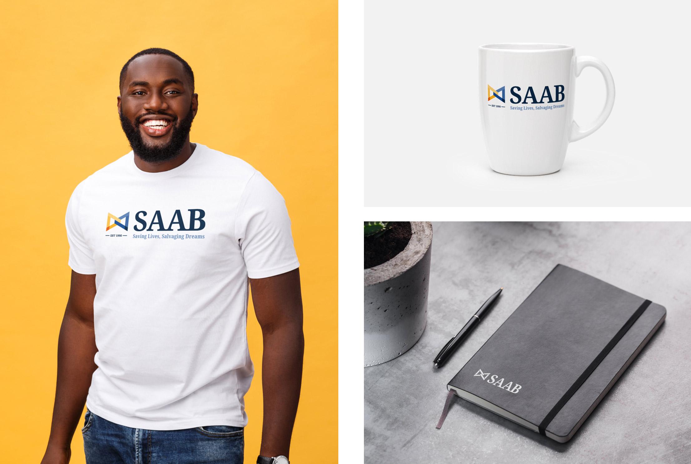 SAAB merch mockups